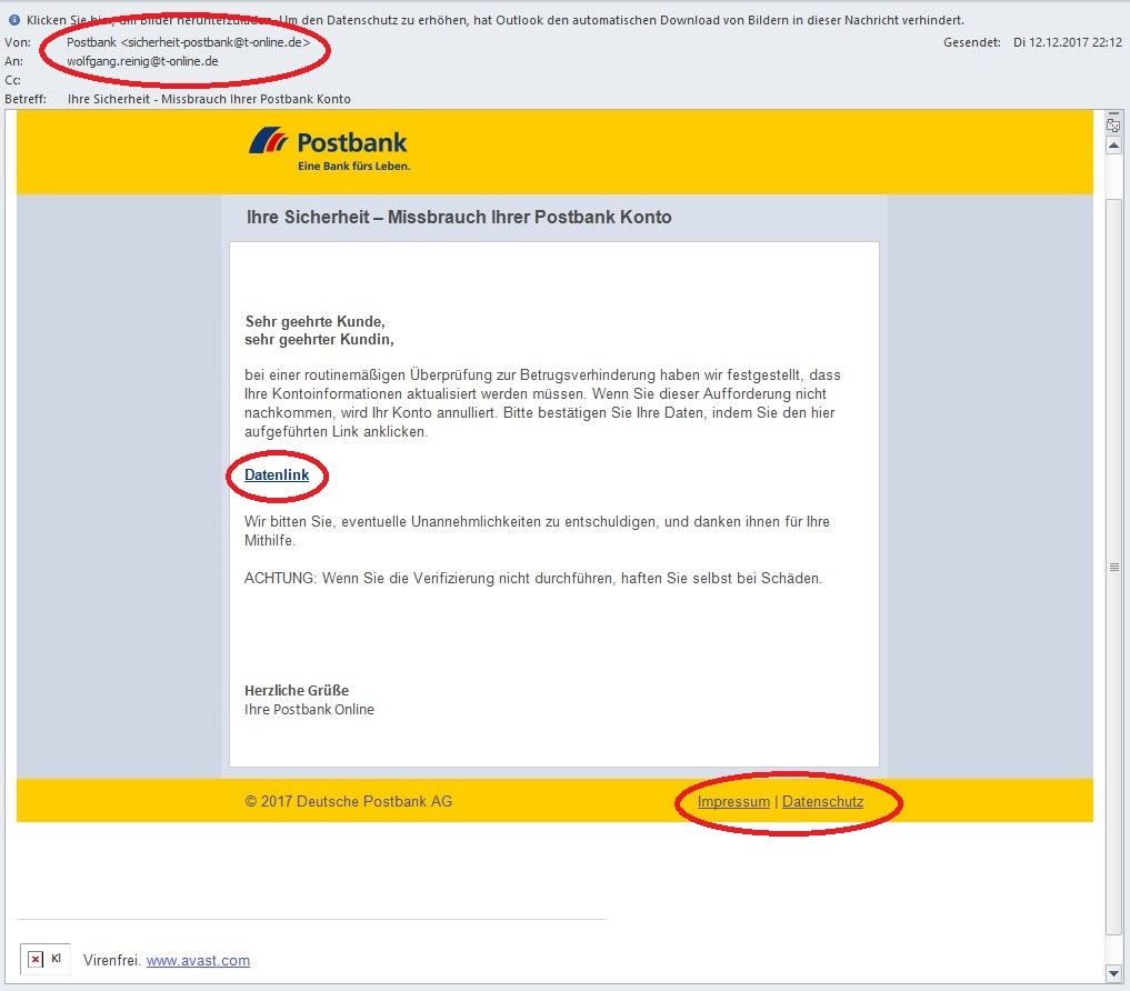 Screenshot der Phishing-Email